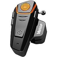 Veetop 1x 800m Water Resistant Motorbike Motorcycle Helmet Intercom Bluetooth Helmet Headsets Interphone and 2.5mm Aux for Walkie Talkie GPS - Hands Free & FM radio (1Pack)