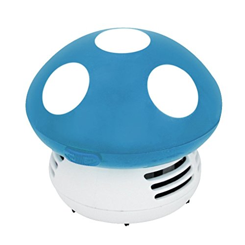 DZT1968 Cute Mini Mushroom Corner Desk Table Dust Vacuum Cleaner Sweeper (Blue)