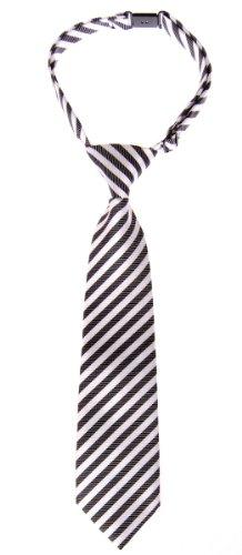 Retreez Striped Woven Pre-tied Boy's Tie - Black and White Stripe - 4 - 7 years