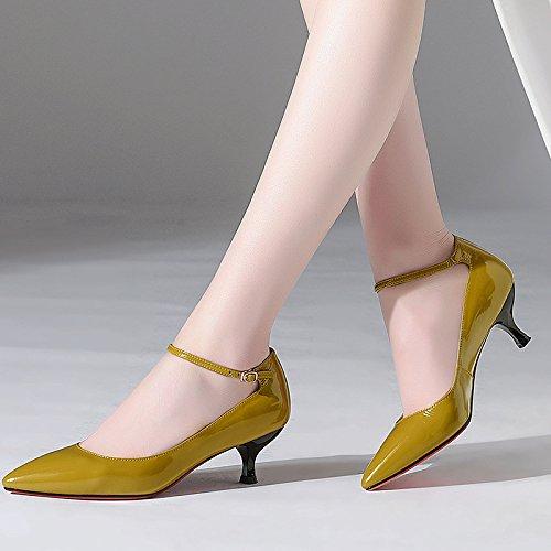 DKFJKI Talon Noires Moyen Profonde pour Travail Mot Chaussures Yellow Boucle Quatre Cuir en Bouche Peu Saisons Chaussures Chaussures à de Pointues Une Chaussures Femmes Bq6IBtrOxw