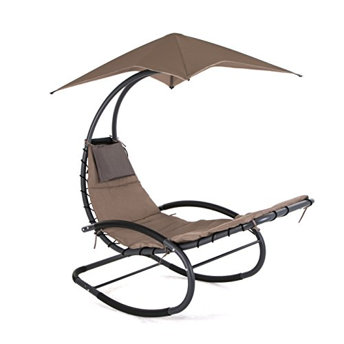 SMONTER Patio Rocking Wave Lounger Chair Outdoor Portable Recliner Pool Chaise with Sun Shade, Tan by SMONTER