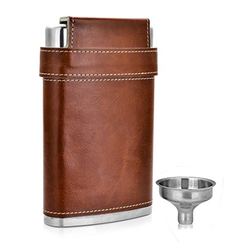 GENNISSY-Pocket-Hip-Flask-8-Oz-with-Free-Funnel-Stainless-Steel-with-Leather-Wrapped-Cover-and-100-Leak-Proof