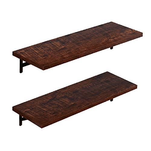 (AUXLEY Wall Mounted Floating Shelves Rustic Wood Wall Storage Shelves for Bathroom, Kitchen, Bedroom and Office, L23.6 x W7.9, Walnut Brown, Set of 2 Brackets)