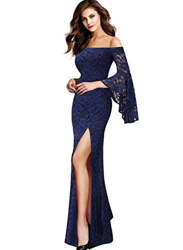 VFSHOW Womens Floral Lace Off Shoulder Bell Sleeve Formal Wedding Maxi Dress 2580 BLU 3XL