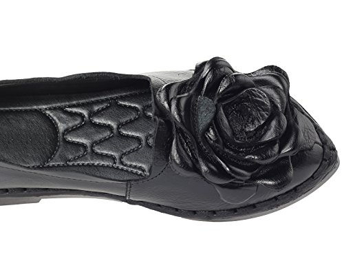 Mordenmiss Womens Fall New Flat Flower Pattern Shoes Style 5-black ZNO896hwve