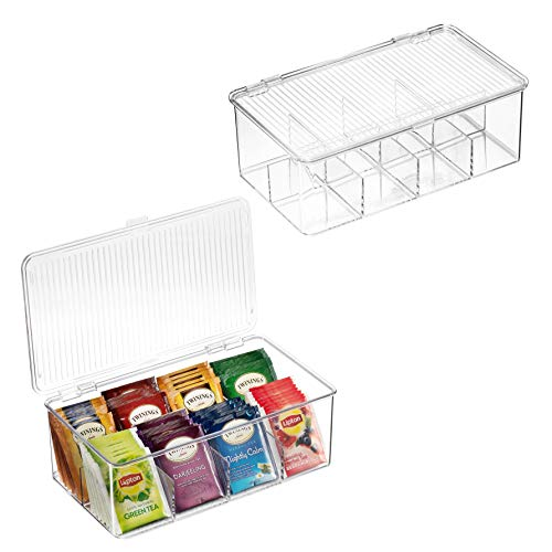 2 Pack Stackable Plastic Tea Bag Organizer – Storage Bin Box for Kitchen Cabinets, Countertops, Pantry – Holds Beverage…