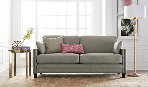 Elle Decor Bella Sofa with Nailheads, Fabric, Gray