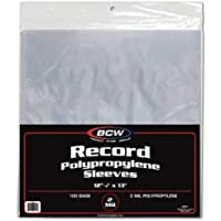 LP Vinyl Record Sleeves, BCW 12 3/4 x 13 Record Outer Sleeves - 2 Mil Thick (Pack of 500 Plastic Sleeves)