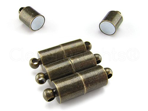 8 Sets - CleverDelights Magnetic Jewelry Clasps - Large Tube Style - Antique Bronze Color - Clasp Converter