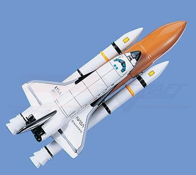"""Space Shuttle with Booster, """"Discovery"""" Airplane Model Toy. Mahogany Wood Model Aircraft Scale: 1/146"""