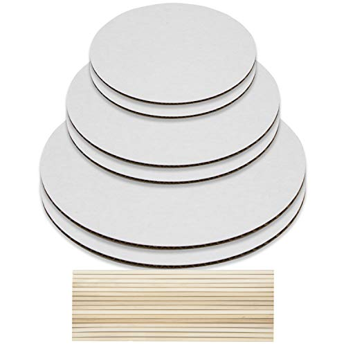 Cake Boards and Wooden Dowels, Set of 6 Cardboards Cake Circle Bases, 6,8, and 10 inch, 2 of Each Size, with 16 Dowels - Supplies for Two 3 Tier Cakes