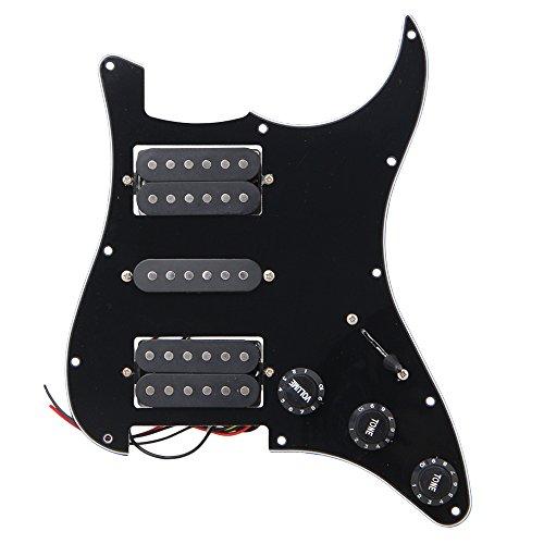BQLZR Black Loaded Pickguard HSH 3Ply Scratch Plate for Humbuckers Guitar by BQLZR
