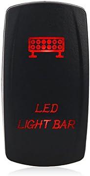 WATERWICH 5 Pin Led Light Bar illuminated Rocker Toggle Switch Waterproof DC 20A 12V/10A 24V Black Shell/ON-OF
