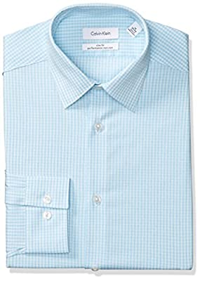 Calvin Klein Men's Dress Shirts Non Iron Slim Fit Stretch Grid Check