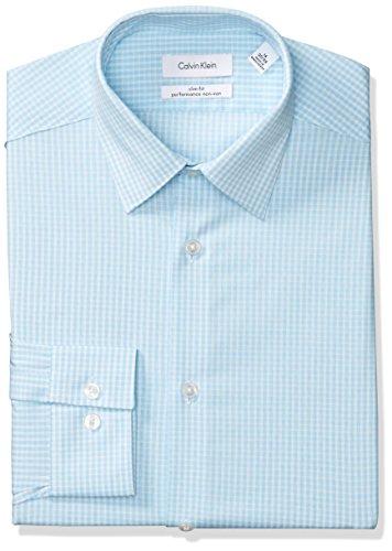 Calvin Klein Men's Dress Shirts Non Iron Slim Fit Stretch Grid Check, Aqua, 16