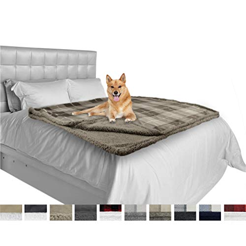 (PetAmi Deluxe Dog Blanket for Large Dogs | Sherpa Fleece Pet Throw Blanket for Couch Sofa Bed | Soft Durable Reversible Furniture Protector for Medium Dog Cat Puppy - 80x60 Plaid Taupe)