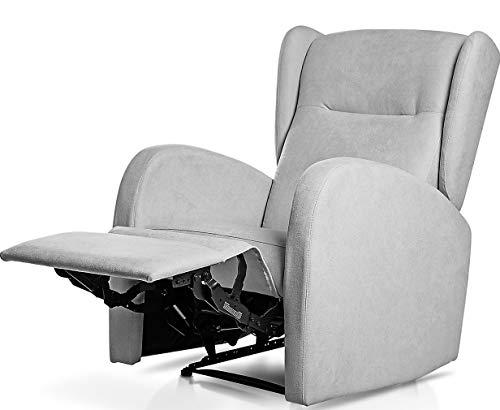 SUENOSZZZ-ESPECIALISTAS DEL DESCANSO Sillón Relax orejero Home reclinable con Pared Cero tapizado en Tela Antimanchas…