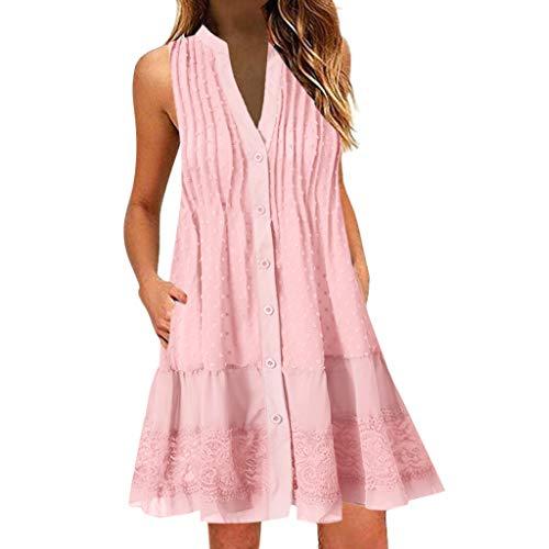 Juesi Women Plus Size Dress, Sleeveless V-Neck Lace Ruffle Hem Mini Dress Pink