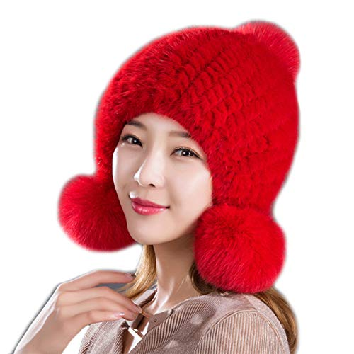 Women's Real Mink Fur Hat Elastic Knitted With Real Fox Fur Balls Winter Warm Pompom