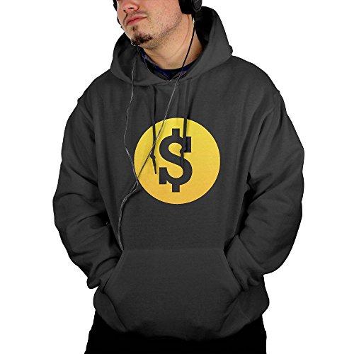 Dollar Sign Men's Hooded Jacket Full Vintage Printed With 2 Pockets Black X-Large