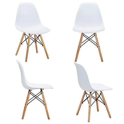 VECELO Mid Century Modern Style Side Chairs with Natural Wood Legs (Set of 4) Easy Assemble for Kitchen Dining, Living Room,Bedroom, Standard, White by VECELO (Image #2)
