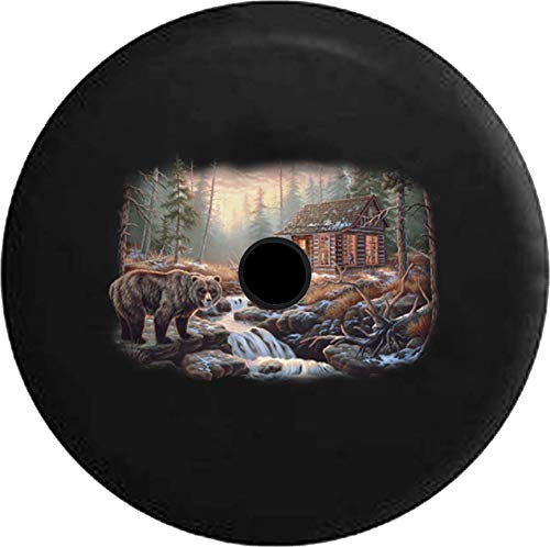 Pike Outdoors JL Series Spare Tire Cover Backup Camera Hole Brown Bear Log Cabin Woods River Hunting Lodge Black 32 in