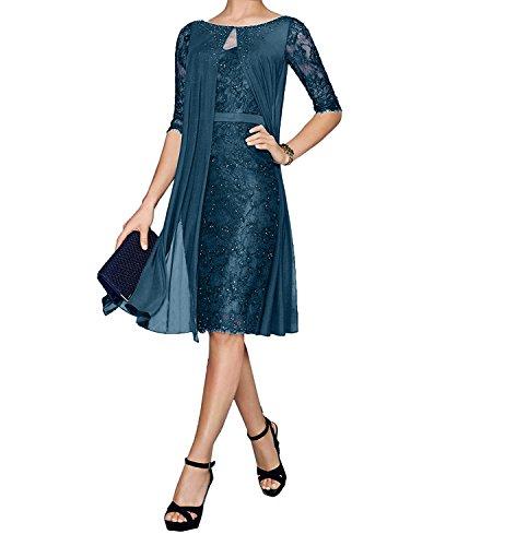 Brautmutterkleider Spitze Charmant Navy Blau Knielang Festlichkleider Bolero Etuikleider Abendkleider Damen mit Blau Dunkel tSYYqABw
