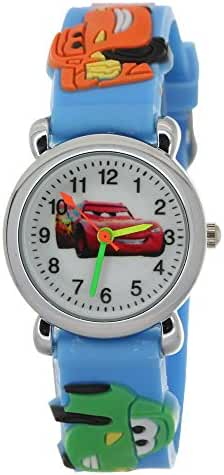 TimerMall Cartoon 3D Strap Round Dial Kids Boys Girls Analog Watches Cars Pattern