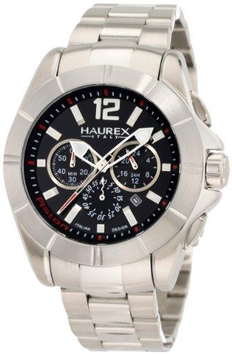 Haurex Italy Men's 0A366UNR Aston Chronograph Black Dial Stainless Steel Watch - Aston Stainless Watch Steel