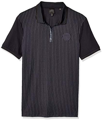 (A|X Armani Exchange Men's Pin Stripe Short Sleeve Polo Shirt, Pinstripe BS Navy/WH, XXL)