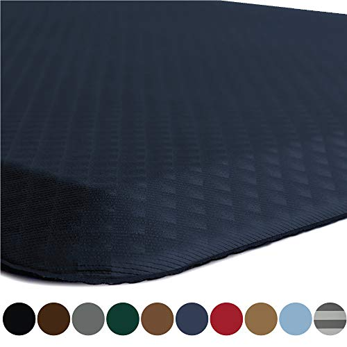 Kangaroo Original Commercial Grade Standing Mat Kitchen Rug, Anti Fatigue Comfort Flooring, Phthalate Free, Non-Toxic, Waterproof, Salon, Rugs for Office Stand Up Desk, Half Circle, Navy Blue