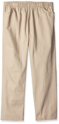 Chic Classic Collection Women's Petite Plus Cotton Pull-On Pant with Elastic Waist, Khaki Slub Twill 22P ()