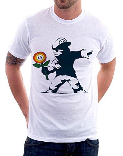 T S Graffitto Mario By Deal Banksy Fiori Maglietta Le Xxl L shirt Tshirteria Bianco Uomo M Tutte Taglie Xl Super Donna rInwxXqr0