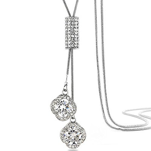 Cyntan Ladies Fashion Necklace Elegant Crystal Clover Necklace Tassel Pendant Jewelry Long Sweater Chain Necklace For Women (Pearl Clover Necklace)