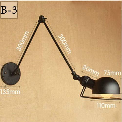 New Vintage Industrial Style Loft Kreative Minimalistische Lange Arm Wandleuchte Verstellbarer Griff Metall Rustikale Licht Wandleuchte Leuchten, B3, Keine Birne