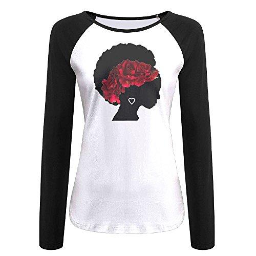 PuSWEbasqa Rose Crown African Woman Women's Long Sleeve Raglan Tunics T-Shirt Blouse Tops XL ()