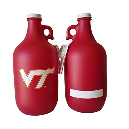 (NCAA Collegiate 64 oz Glass Jug Growler Frost/Matte Finish with Optional Coin Bank Slotted Lid (Virginia Tech Hokies))