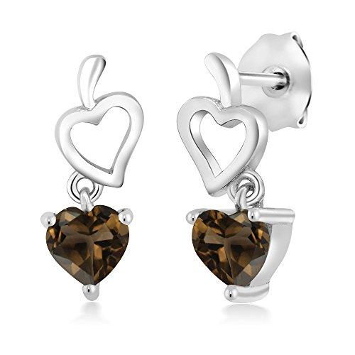 Gem Stone King 0.88 Ct Heart Shape Brown Smoky Quartz 925 Sterling Silver Dangle Earrings