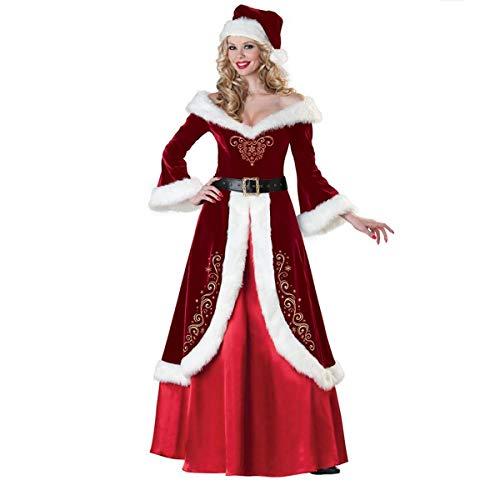 Chapeau Mère Médivale À En Vintage Avec Laine Fanessy Renaissance De Noël Rouge Manche Déguisement Femme Robe Longue mNO08wvn