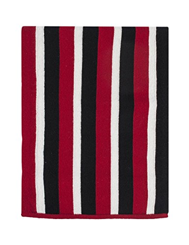 (Great & British Knitwear Men's 9P001 100% Lambswool College Stripe Scarf-Red Black White-One Size)