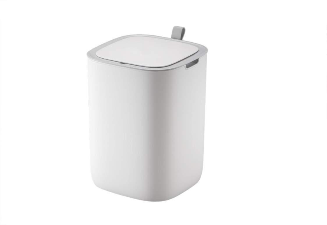 LIAN 12 lインテリジェント自動蓋付き誘導ゴミ箱ホームキッチンリビングルームトイレ浴室電気フリップゴミ箱33.7 * 24.9センチ (色 : 白)  白 B07RKR48KD