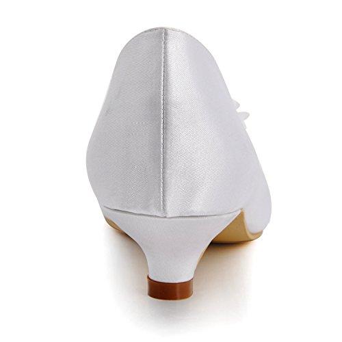 Minishion Mz605 Femmes Bout Pointu Med Talon Nuptiale Mariage Soirée Satin Pompe Chaussures Blanc-6.5cm Talon