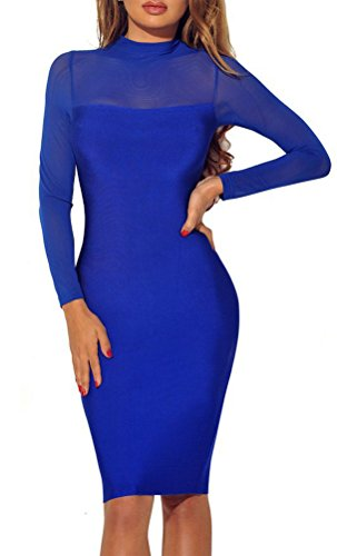 Women\'s Stretch See Through Dresses for Club Cocktail Party Solid Dress,Medium,Royal Blue
