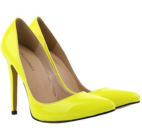 Bout PU Aiguille 11 Cuir Vernis Escarpins CM foncé Femme wealsex Talon jaune Pointu Talons wqHZfYnxnR