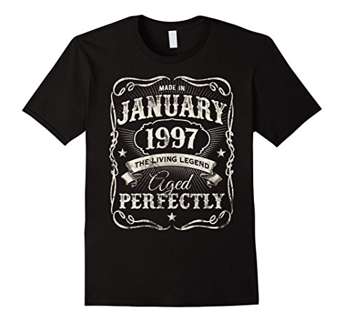 Mens Legends Were Born In January 1997 Shirt 21st Birthday Gift Large Black