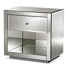 "Baxton Studio Monique Hollywood Regency Glamour Style Mirrored 1-Drawer 1-Shelf Nightstand, ""Silver"" Mirrored"