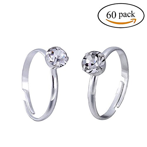 Topoox 60 Pack Bridal Shower Rings Silver Engagement Rings for Party Favor Table Decorations (Plastic Rings Toy)