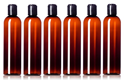 Newday Bottles, 8 oz Empty Plastic Bottles BPA-Free Leak Proof with Disc Top Cap Lids Refillable Containers for Shampoo, Lotion, Liquid Soap 8 oz Amber with Black Cap