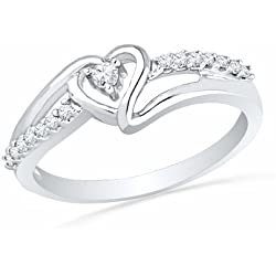 Sterling Silver Round Diamond Heart Promise Ring Valentine's Day gift