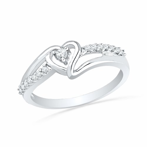 Heart Round Gold - Sterling Silver Round Diamond Heart Promise Ring (1/10 cttw)(Size 5.5)